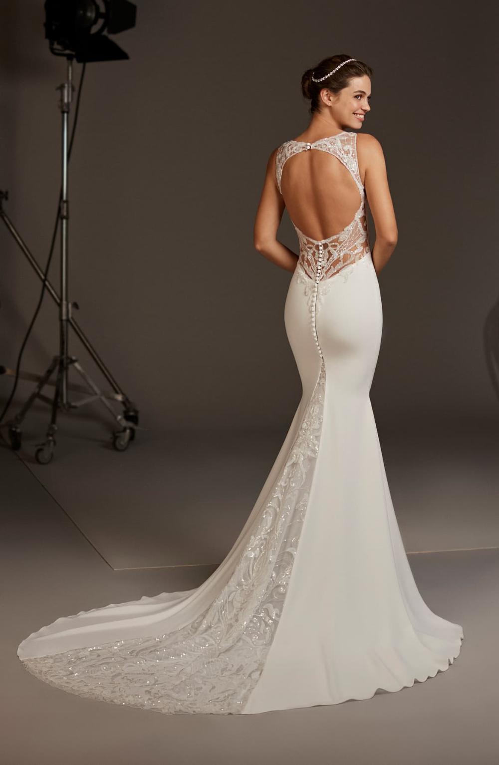 Pronovias Aquila Lace Back Crepe Mermaid Wedding Dress   Nordstrom ...