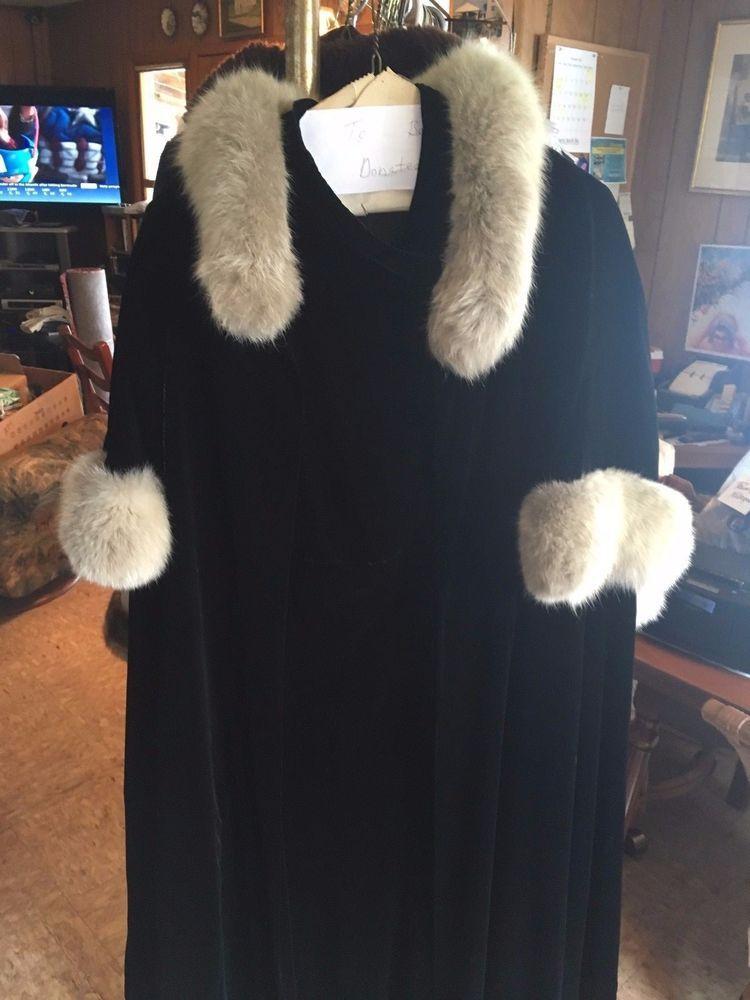 Vintage Hand-Made Black Velvet Gown and Fur-trimmed Cape #HandMade #BallGown