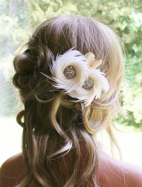 Ivory Bridal Fascinator Wedding Headpiece Bridal by FancieStrands