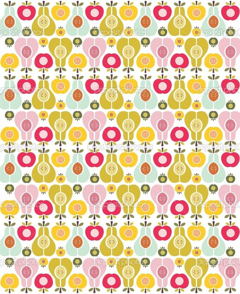 Vector seamless fruit pattern - apple and pear — Stock Vector #21941625