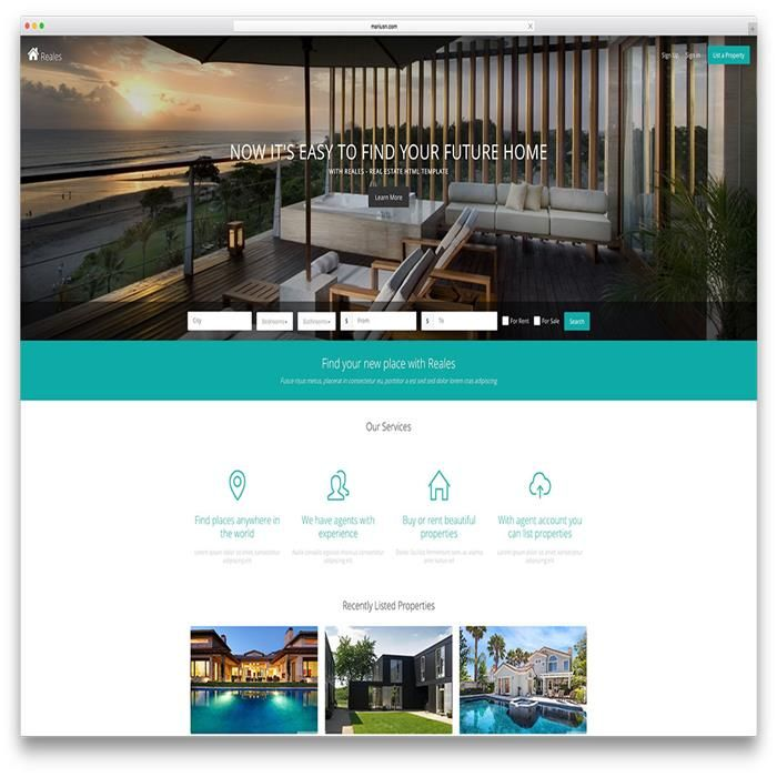 Reales Real Estate Html5 Website Template Real Estate Wordpress