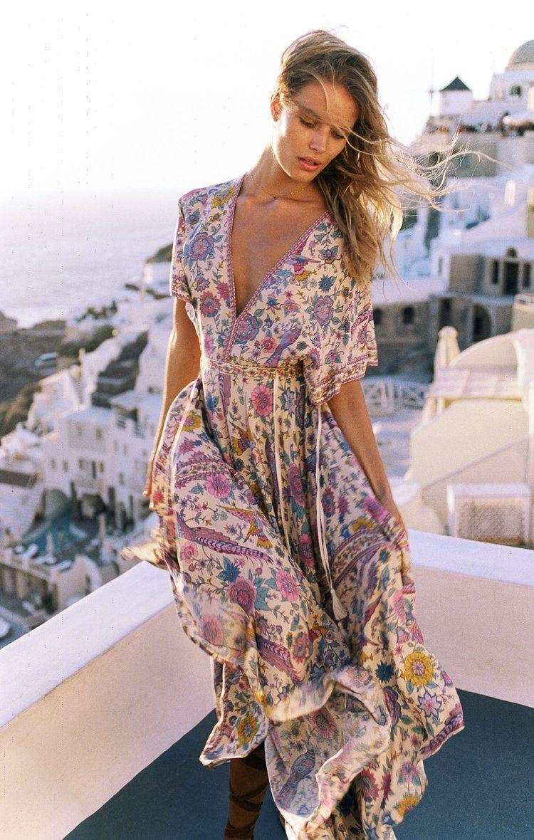 353e700a05e Women Boho Maxi Long Floral V Neck Beach Party Dress 1 review in ...