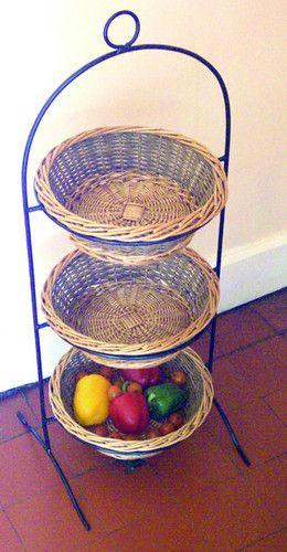 Rustic Vegetable Fruit Basket Storage Rack With Metal Frame For