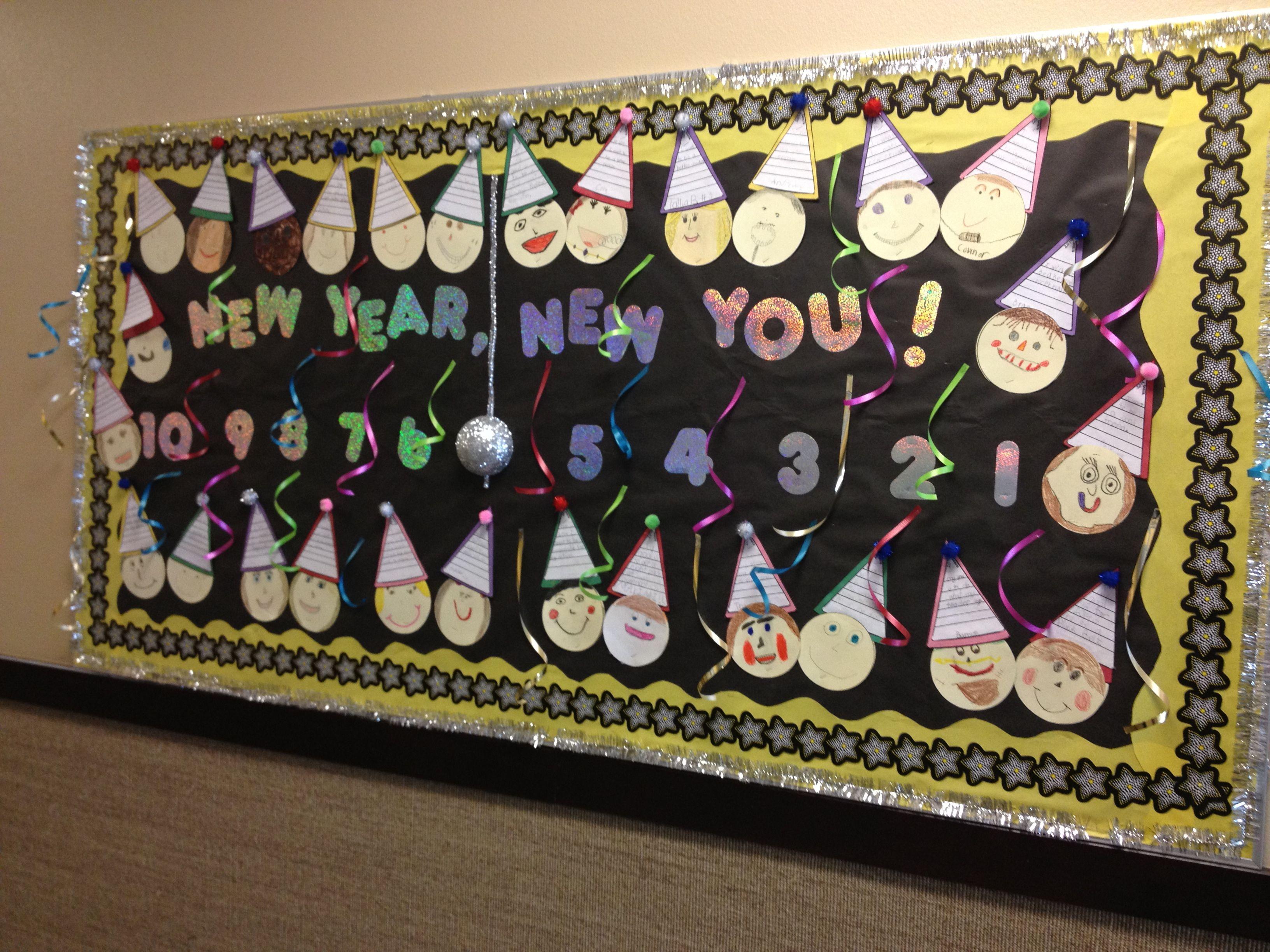 New Year Bulletin Board Classroom Bulletin Boards New Years Activities Kindergarten Activities