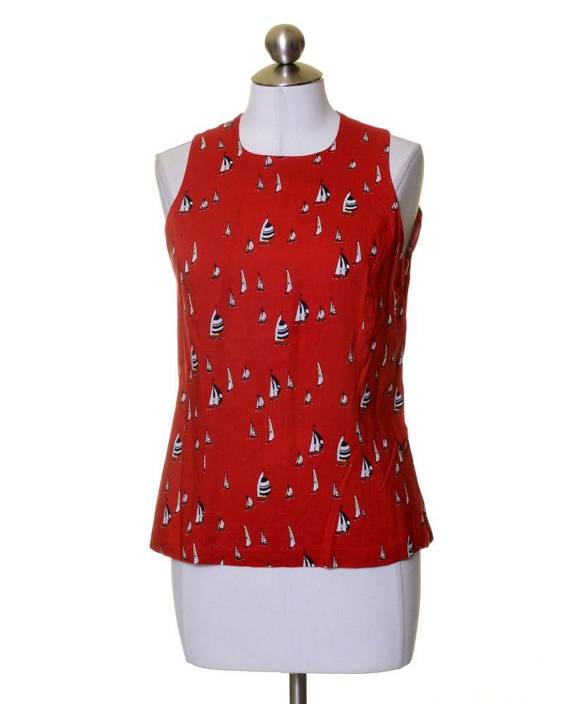6fb4a302381e1d Liz Claiborne Red Black White Sailboat Print Sleeveless Top Size 6 Button  Back  LizClaiborne  Blouse  Casual