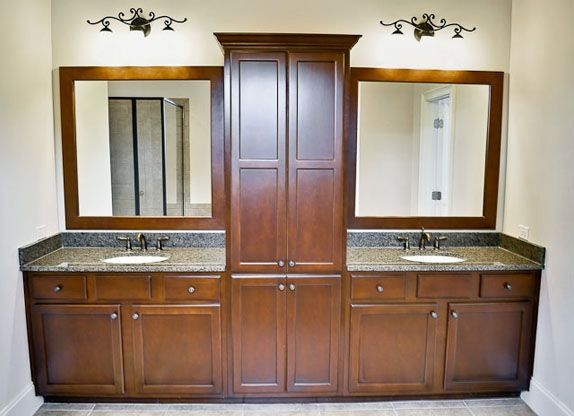 Double vanity with center tower  bathroom Pinterest Vanities