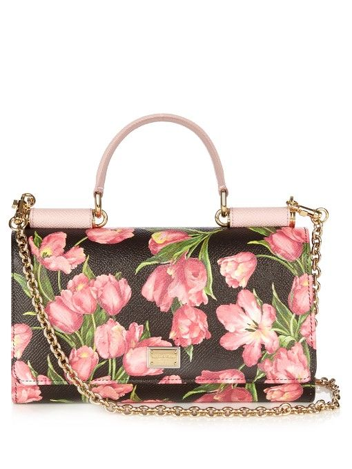 DOLCE   GABBANA Mini Von Tulip-Print Leather Cross-Body Bag.  dolcegabbana   bags  shoulder bags  hand bags  leather  lining   3acd9ae3e8f2a