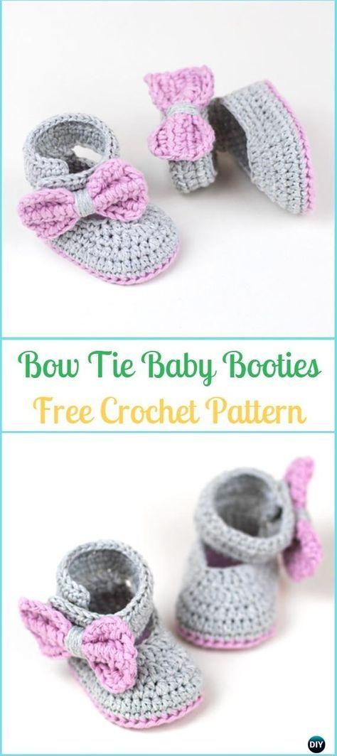 Crochet Lavender Bow Tie Baby Booties Free Pattern & Video - Crochet ...