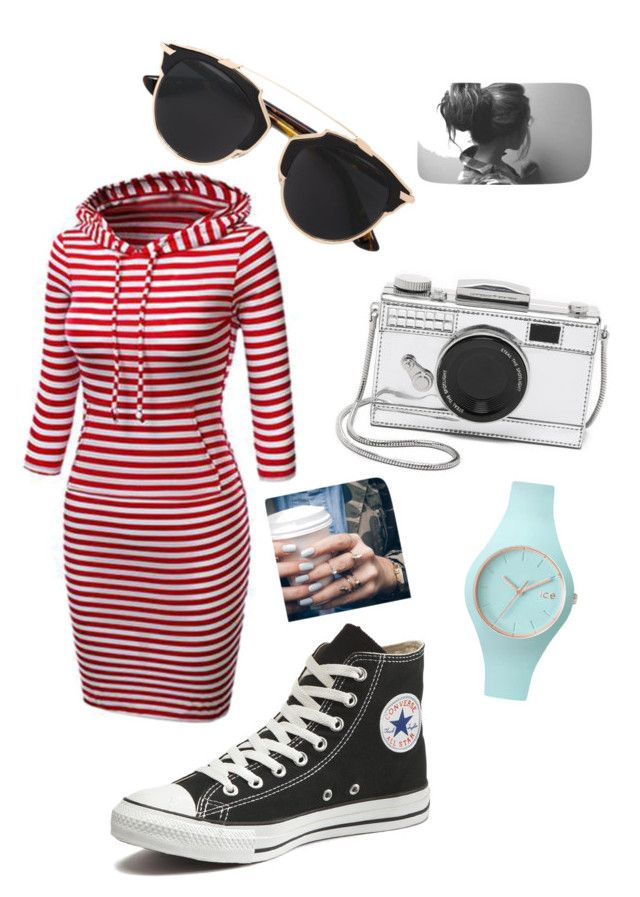 """""""Untitled #19"""" by anais-120585 on Polyvore featuring Kate Spade, Christian Dior, Floss Gloss, Ice-Watch and Converse"""