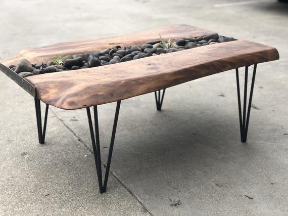 Walnut coffee table with River Rock garden #riverrockgardens