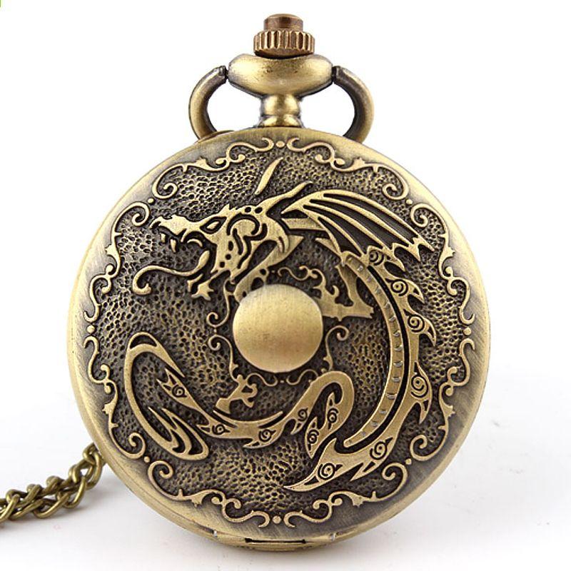 35f46284360 Antique fogo ardente dragão bronze vintage retro relógio de bolso de  quartzo cadeia colar de pingente