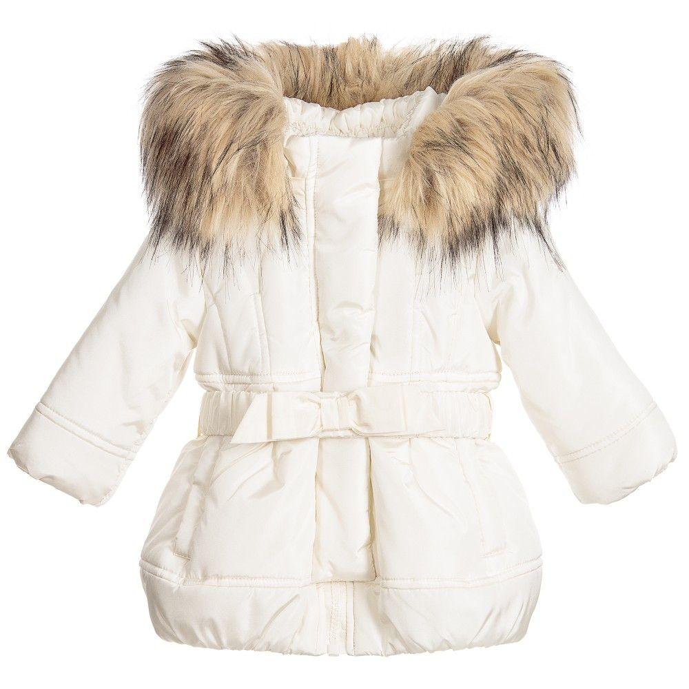 f20b18b5663e Monnalisa Baby Girls Ivory Padded Coat with Fur Trim Hood