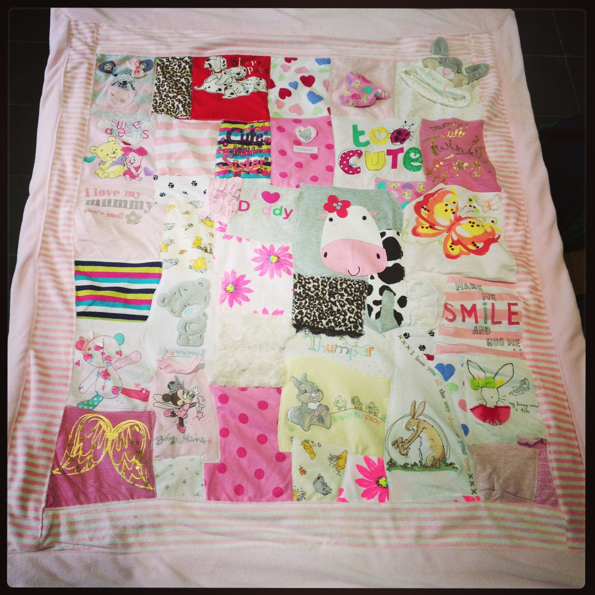 61 50 Plus P Cot Sized Memory Blanket Made From Baby Clothes Cot