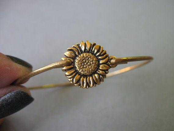 Gold Sunflower Bangle Bracelet  Nature Bangle by BaubleVine, $14.95