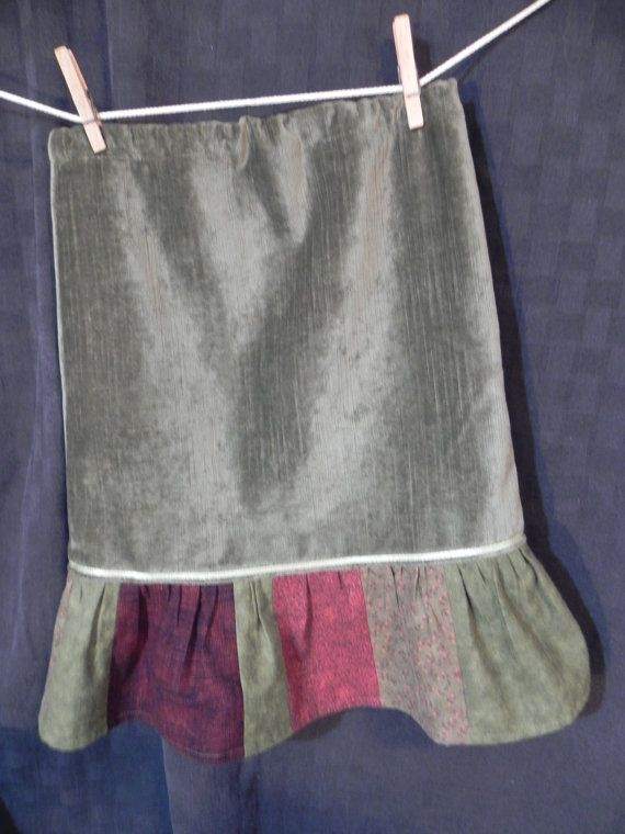 Girls Skirt size 8 Green Corduroy with Green by SuziQsOriginals