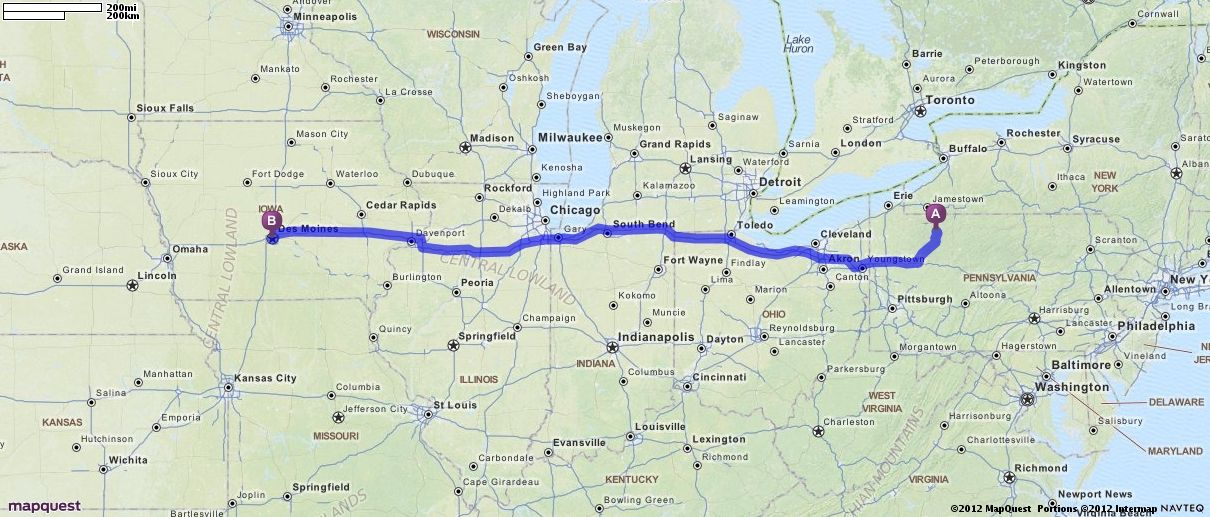 Driving Directions from Sheffield, Pennsylvania to Des Moines, Iowa