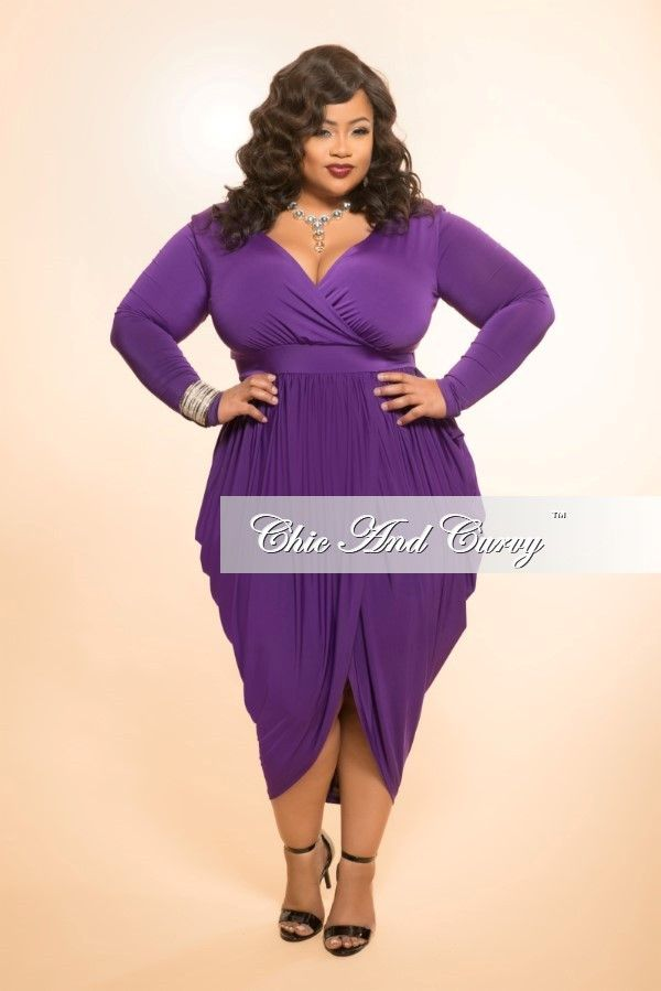 Plus Size Dress with Long Sleeve and Harem Draping in Purple ...