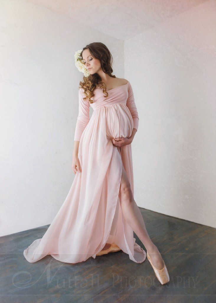 023bd52c46d Patricia Gown • Off the Shoulder Chiffon Maternity Gown • Long Sleeve Maternity  Gown • Maternity Gown • Renaissance Gown • by Sew Trendy