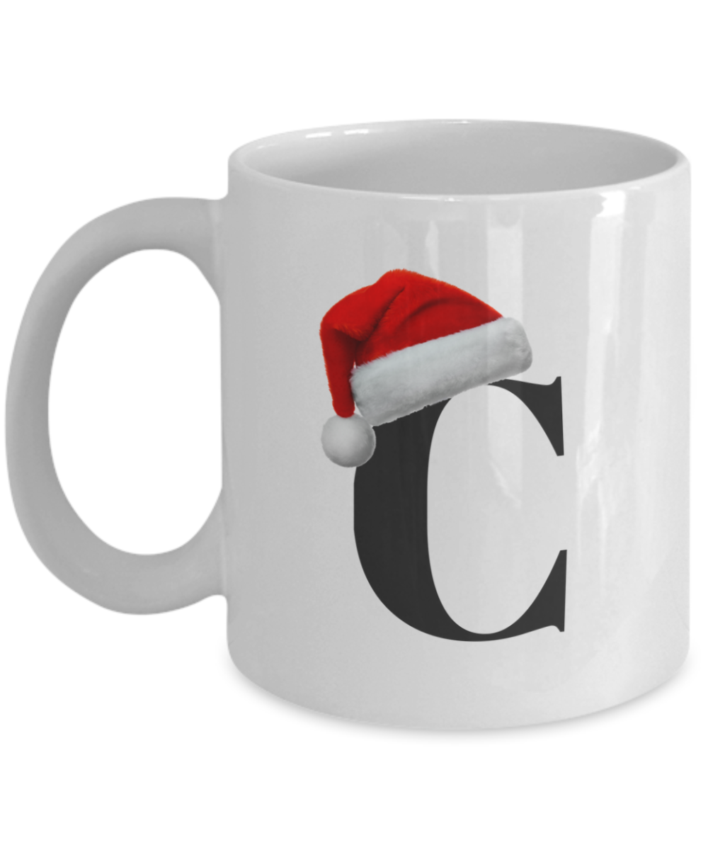 Cool Christmas Monogrammed 11 Ounce Coffee Mug With Your Initial Wearing A Santa Hat A Unique Novelty C Christmas Monogram Personalized Holiday Gifts In A Mug