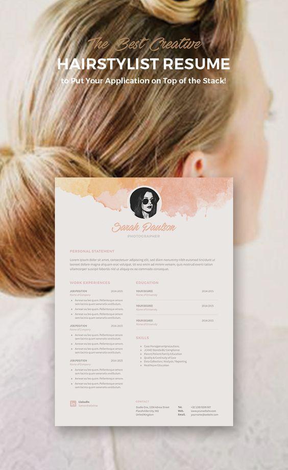 Creative resume for hairstylist Hairnel Pinterest Creative