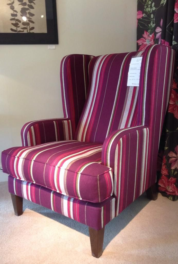 Bladon Wing Chair In Gorgeous Pink Stripes Wesley Barrell Wing