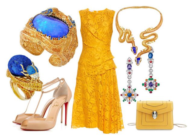 """Без названия #13386"" by zhebiton ❤ liked on Polyvore featuring Oscar de la Renta, Christian Louboutin and Bulgari"