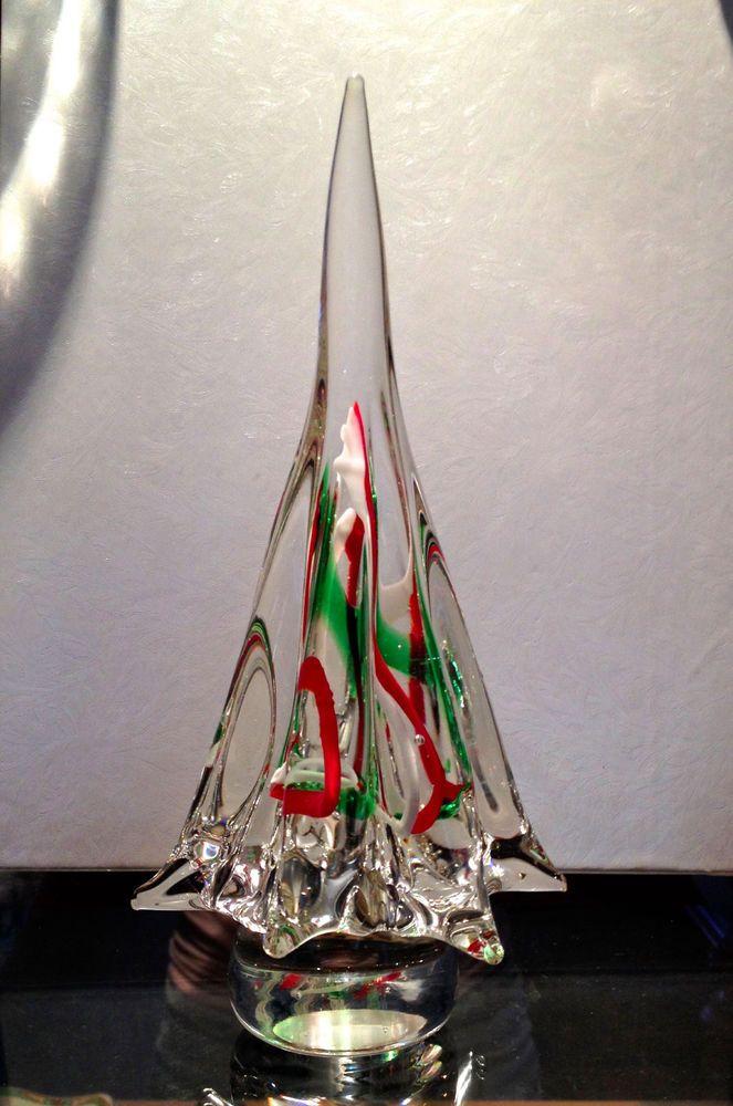 vintage murano italian art glass red white green swirl 8 italy nice italian art glass