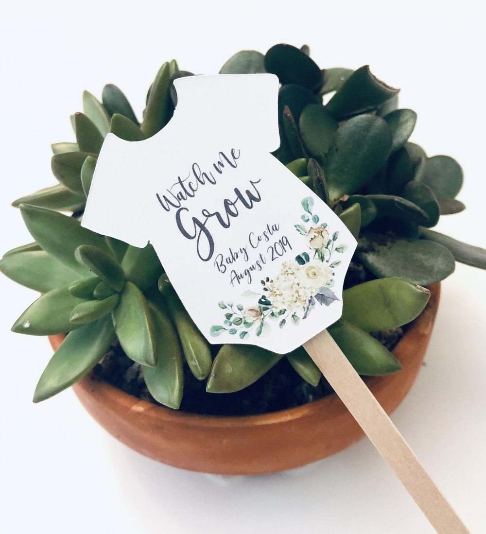 Greenery Watch Me Grow Tags Baby Shower Succulent Favor