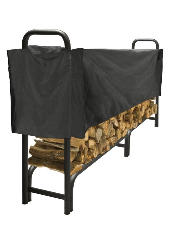 Pleasant Hearth LS938-96SC Outdoor Steel Log Rack with Weather-Resistant Half Co Black Accessory Fireplace Log Rack