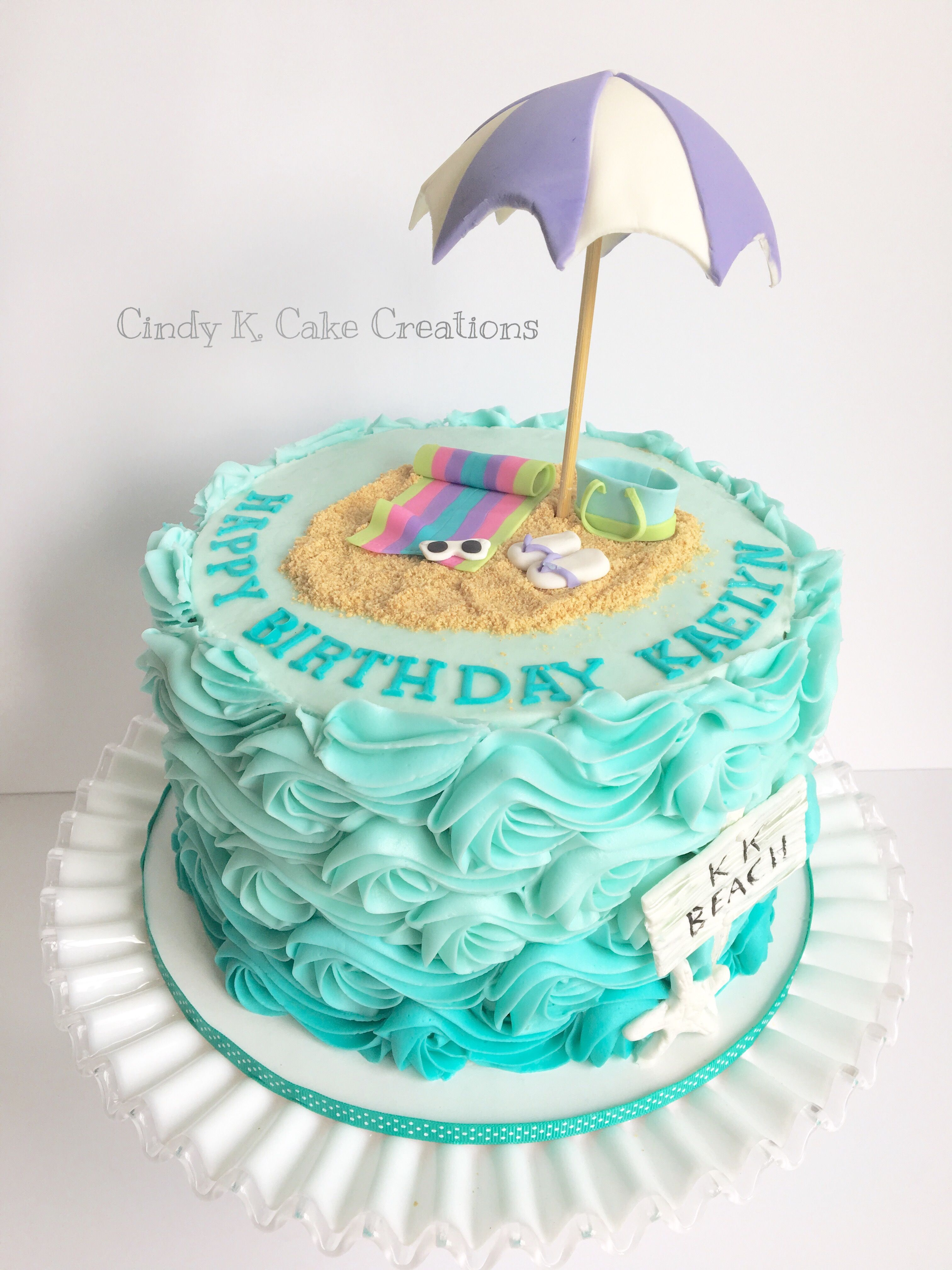 Buttercream Waves Beach Cake Made By Cindy K Cake Creations