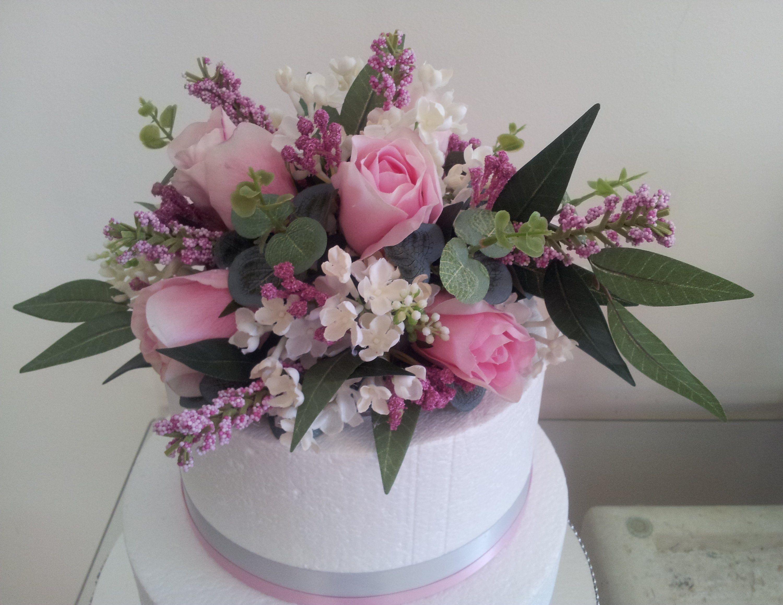 Cake topper artificial flower pink rose etsy flower