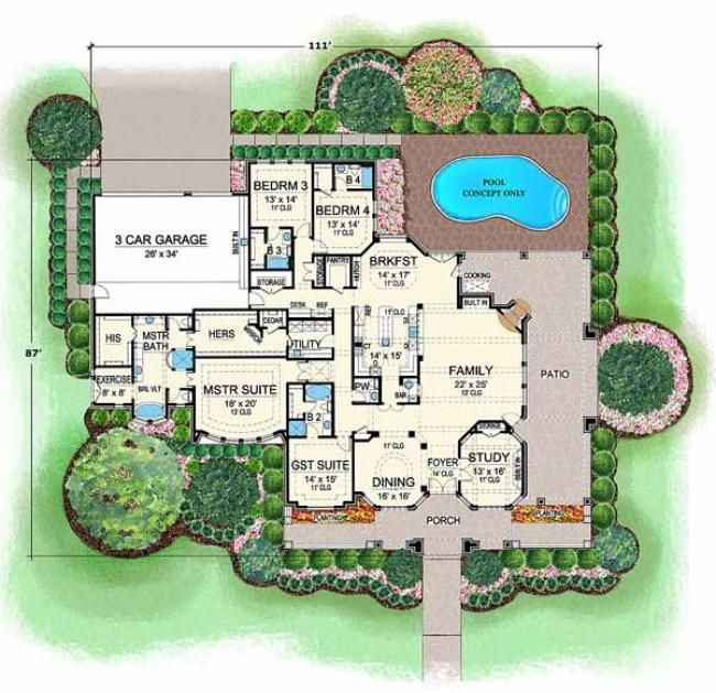 Location Of The Gym Is Cool Kitchen Layout Is Interesting Like That It S Separate From Family Luxury House Plans Floor Plans Courtyard House Plans