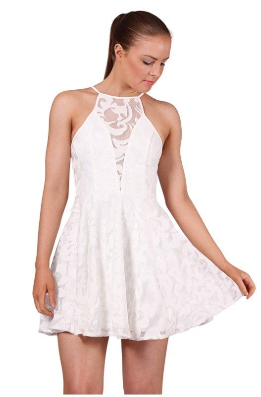 White Lace Halter Skater Dress | Lace, Dresses and White lace
