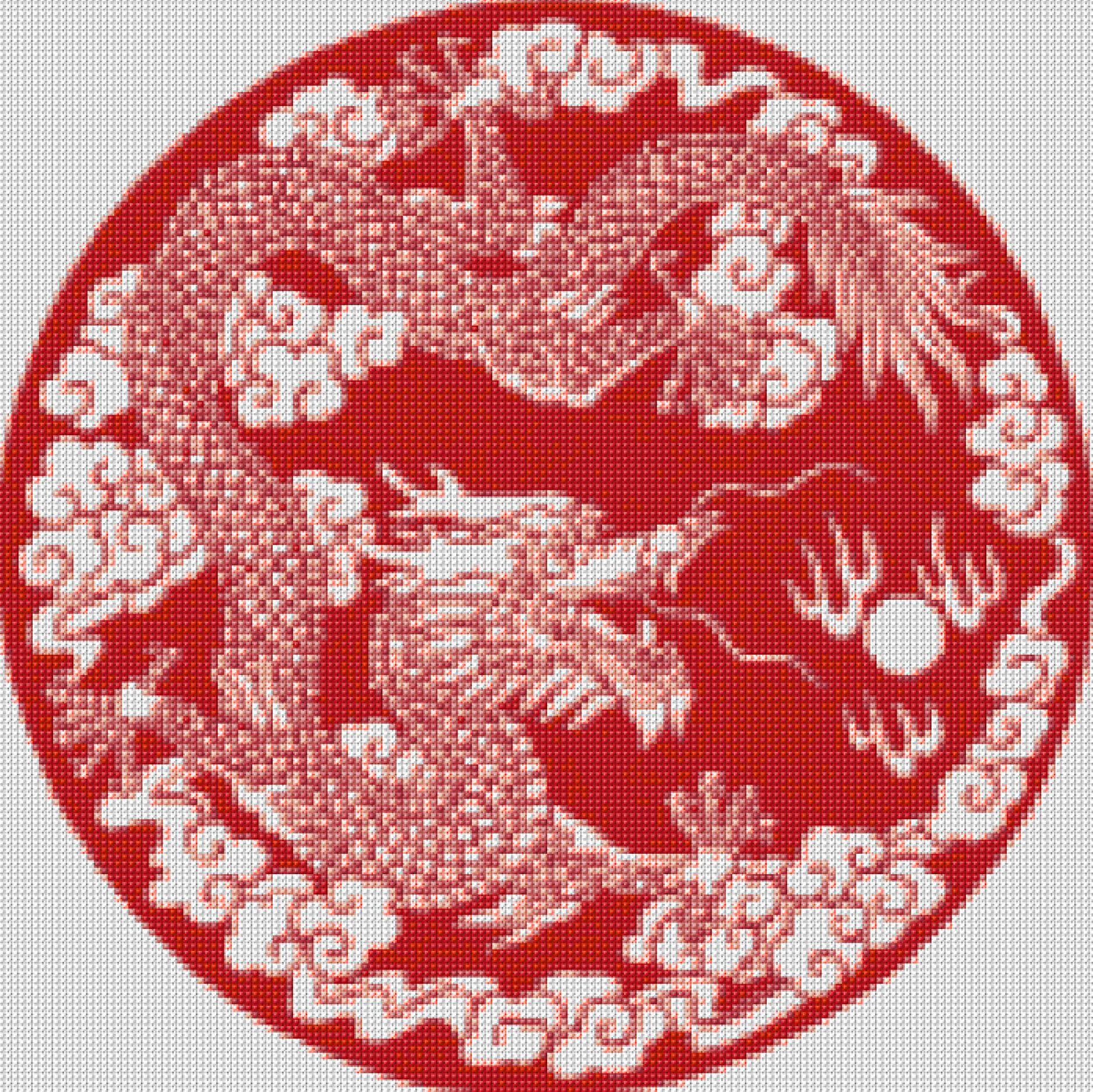 Chinese Red Dragon Cross Stitch Pattern