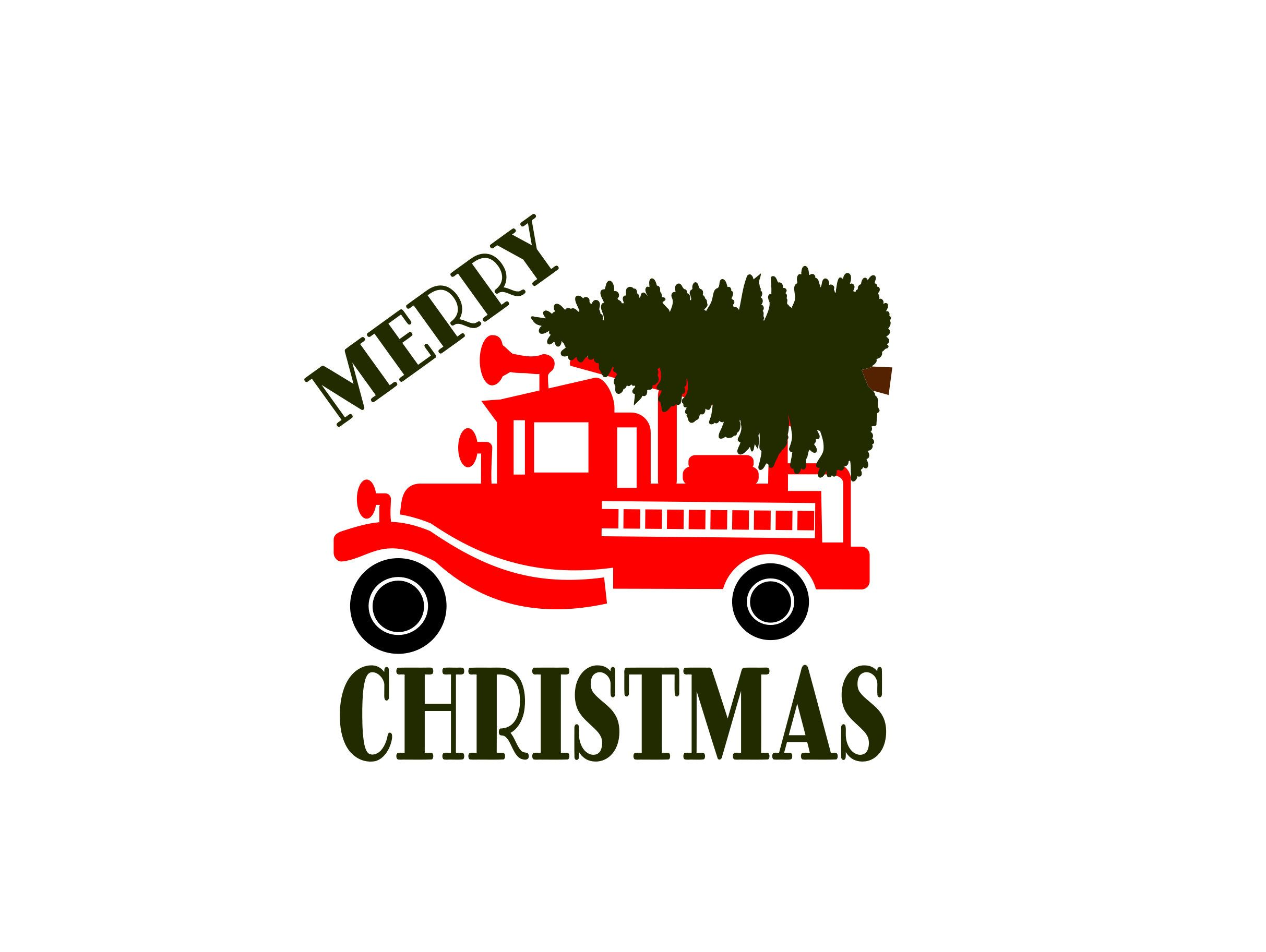 Christmas Fire Truck SVG and Sublimation Graphics Designs