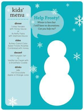 Customize Winter Kids Menu #holiday #christmas #snowman #kids #menu #template…