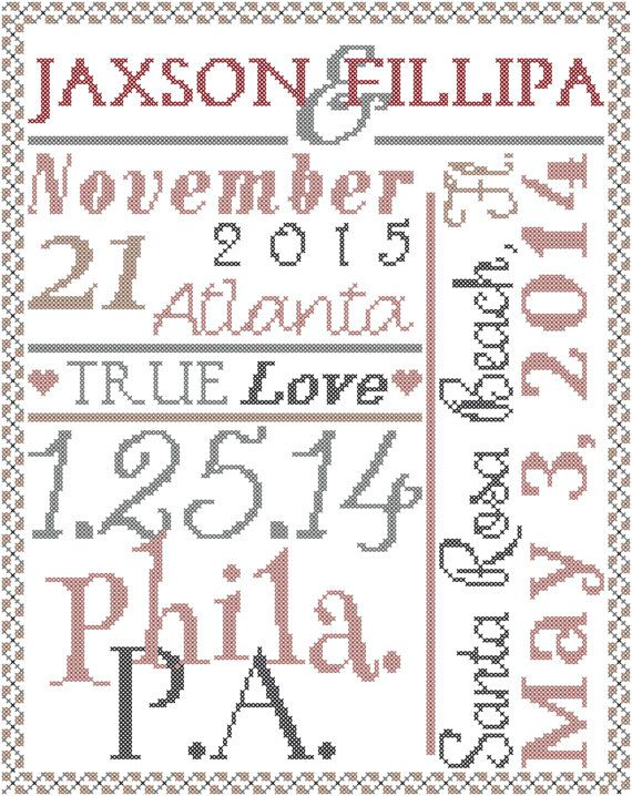 Typography Wedding Record Cross Stitch Pattern/Wedding Sampler ...