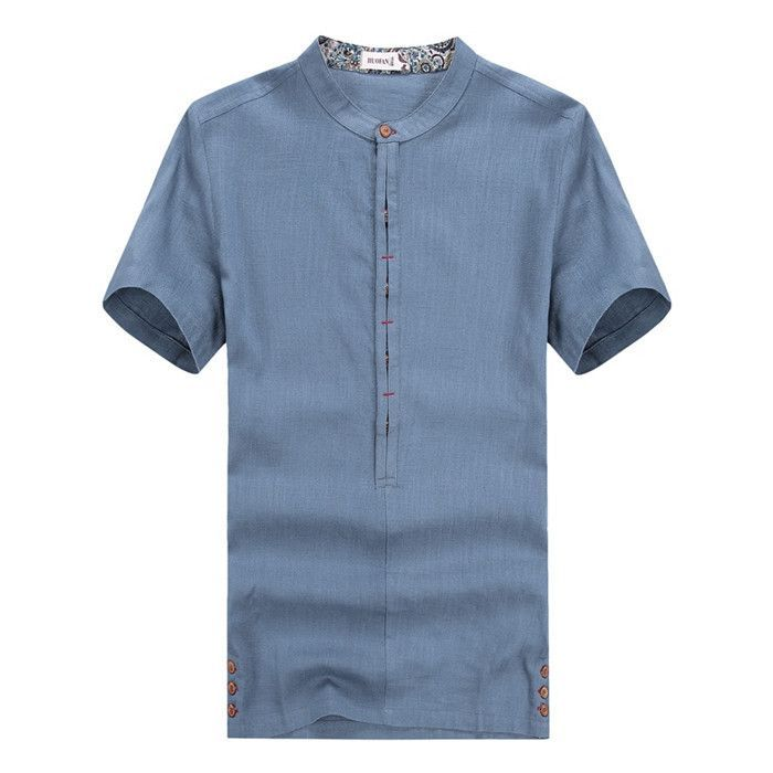 Men's short sleeve summer high quality linen shirt contracted joker comfortable breathable linen material men's shirt