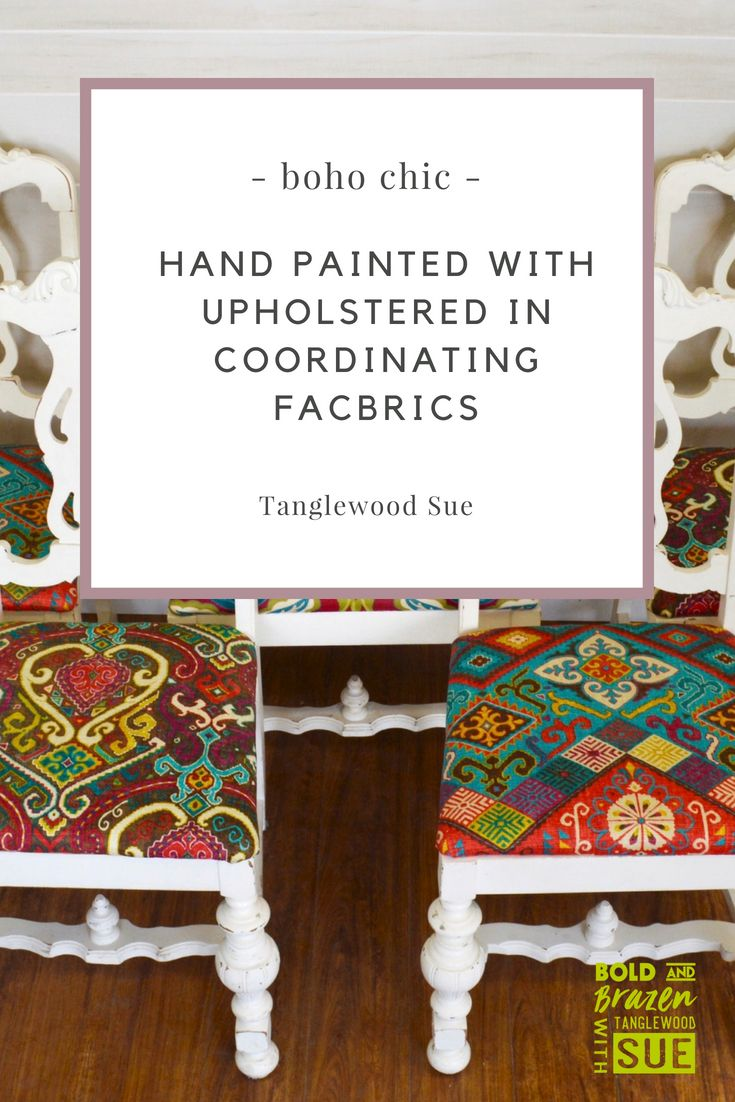 Boho chic hand painted chairs with upholstered