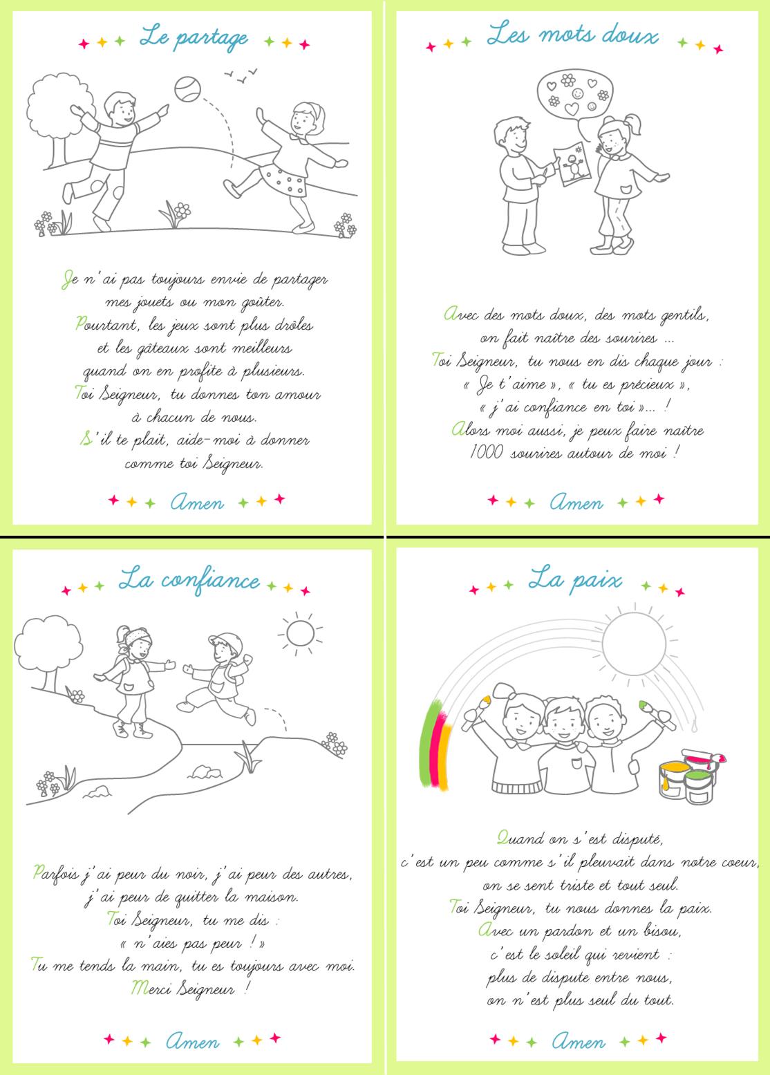 Cartes pri¨res pour les enfants  colorier Disponibles dans le journal gratuit pour l