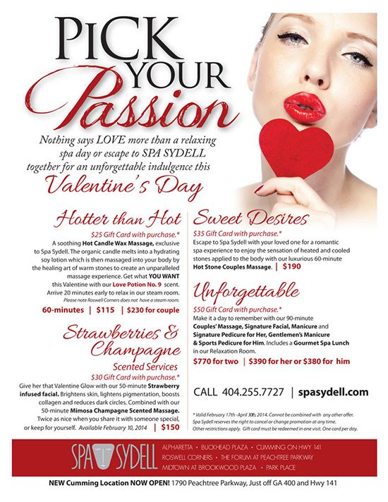 Spa Sydell Valentine S Day Specials Pick Your Passion