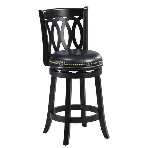 Mintra Black Finish Spiral Back 24-Inch Swivel Counter Stool by MINTRA. $94.99. French legs with tapered bottoms: full ring footrest for strength and stability. Dimension: 38-inch high by 18-inch wide by 18-inch deep; seat height: 24-inch. Assembly required, available also in dark oak, cappuccino, and cherry finish. Solid woods construction in black finish. Upholstery materials: premium bi-cast leather covers; black leather upholstery. Perfect for refined entertaini...