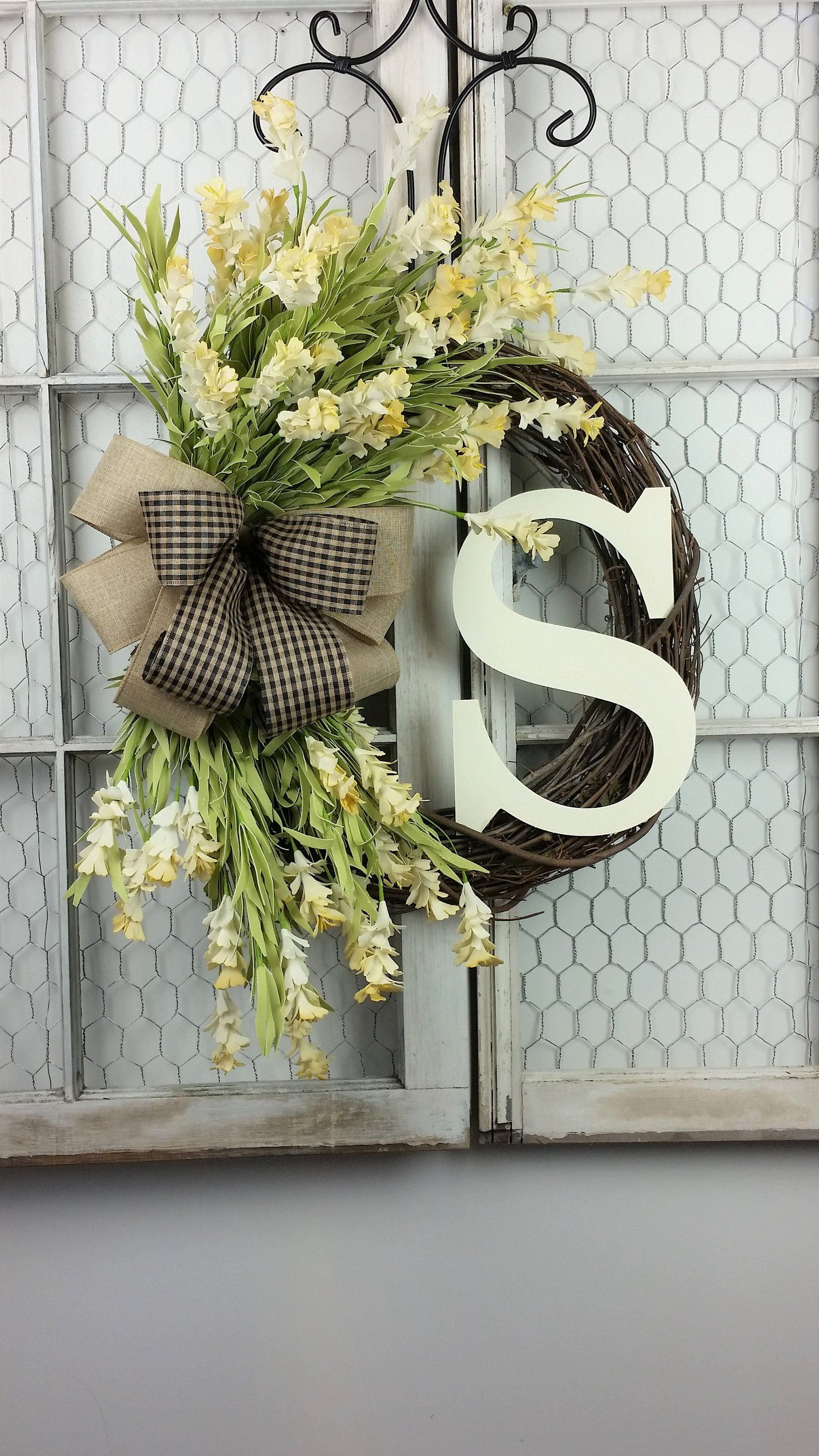 Photo of Spring wreath, Spring wreaths for front door,  Wreaths for front door, Summer wreaths for front door, Farmhouse wreath, Everyday wreath