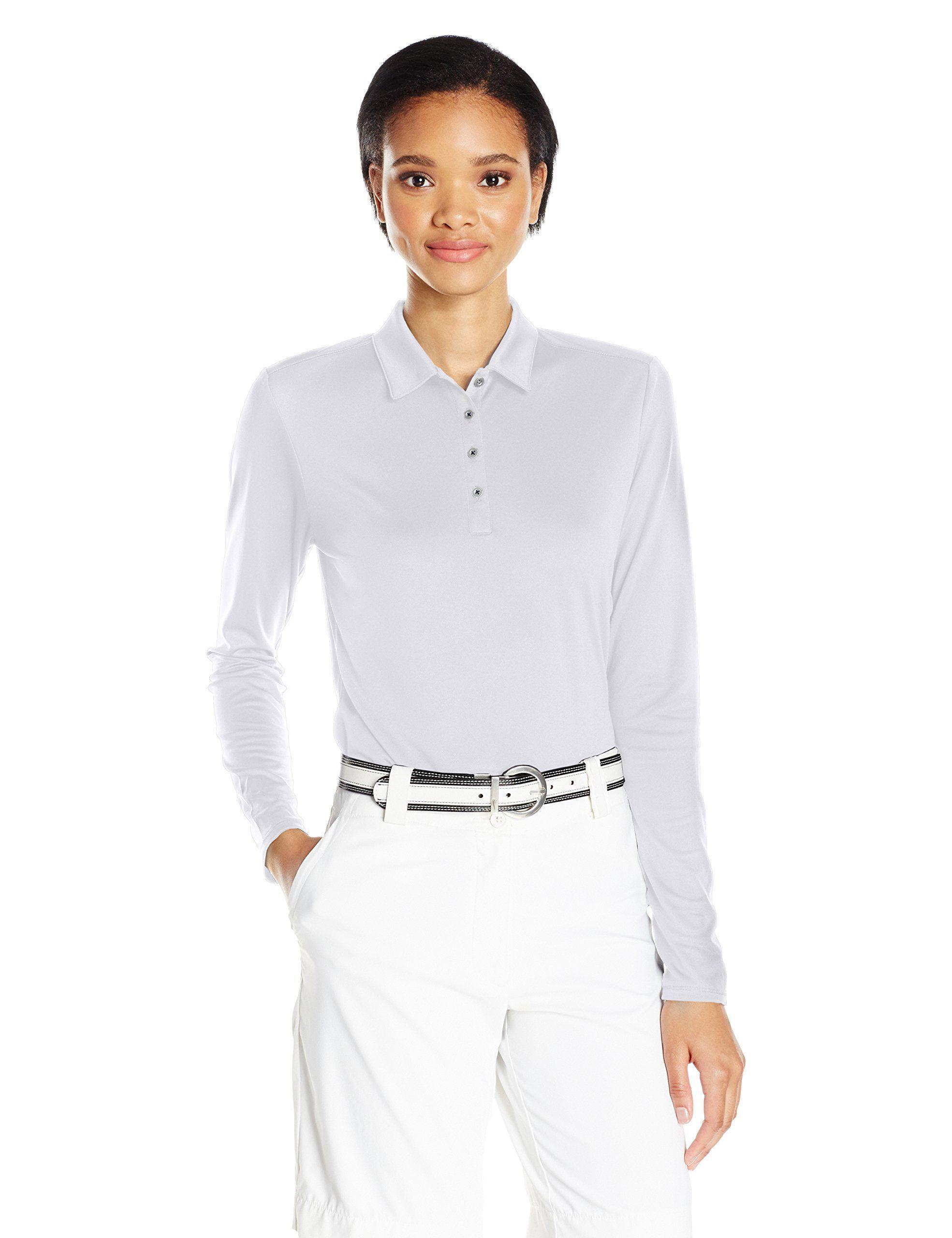 Adidas Golf Womens Performance Long Sleeve Polo White