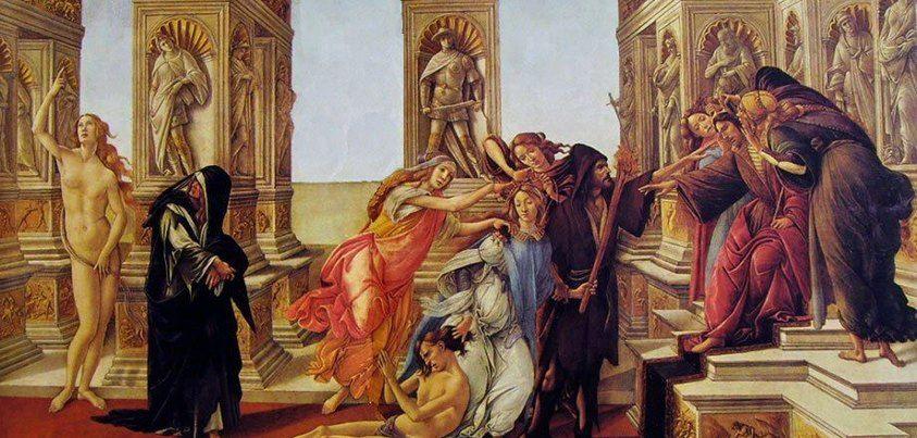 """Image result for Sandro Botticelli, """"La Calunnia di Apelle"""" (1495 c.) , tempera su tavola - Firenze, Uffizi"""