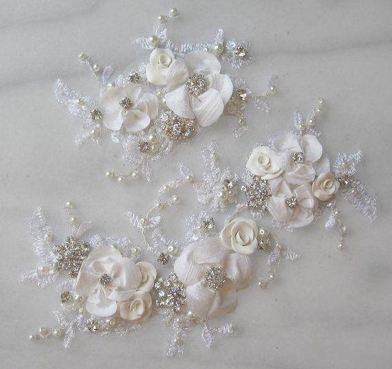 Rhinestone and Pearl Lace Applique Set, Bridal Applique, Wedding ...