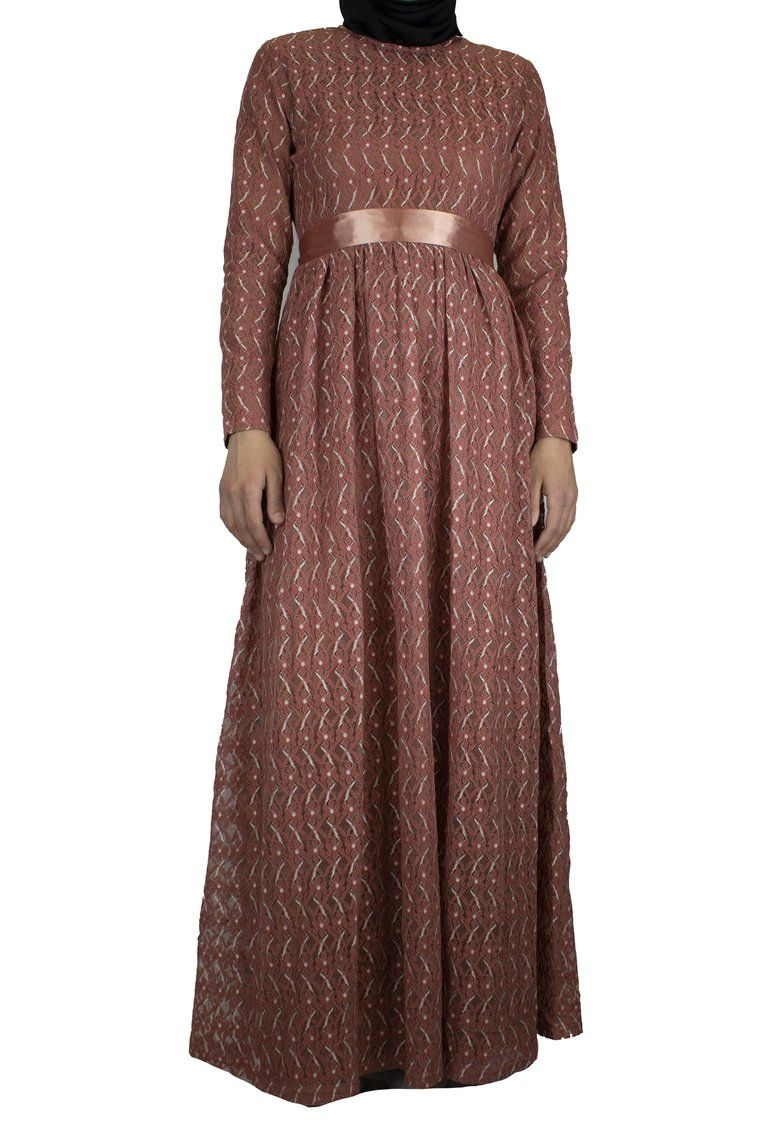Long sleeve lace maxi dress with satin belt burnt orange eid
