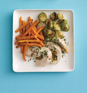 Stuffed chicken with sweet potato fries and brussel sprouts. 445 cal, 13g fat, 36g carbs, 8g fiber, 47g protein