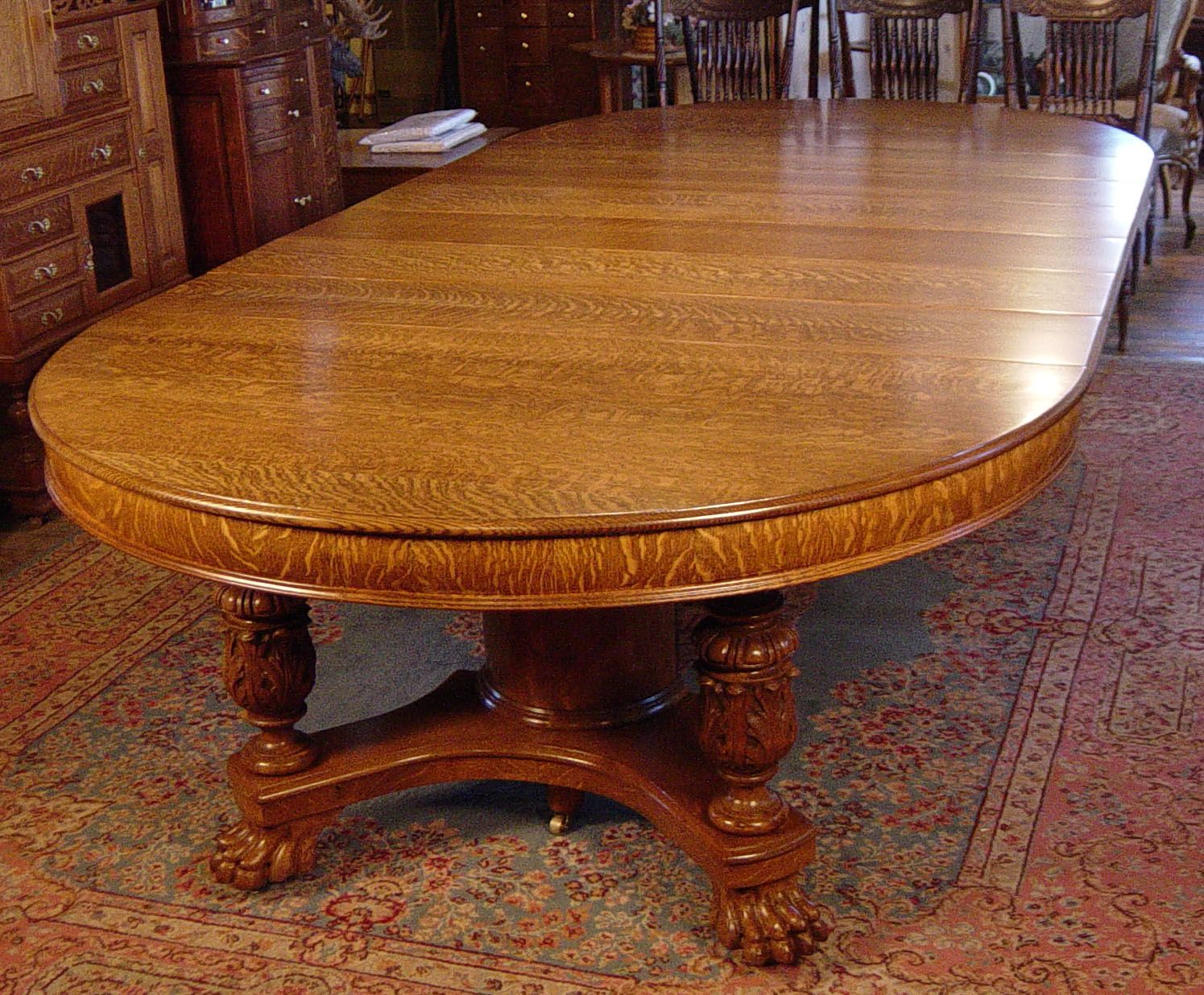 60 Round Oak Claw Foot Dining Table With 6 Original Leaves