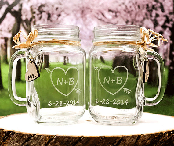 Wedding Ideas Using Mason Jars: Toasting Glasses / Personalized Wedding Mason Jar Glasses